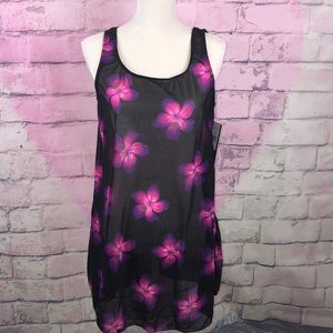 Longitude sheer floral swimsuit cover up M New